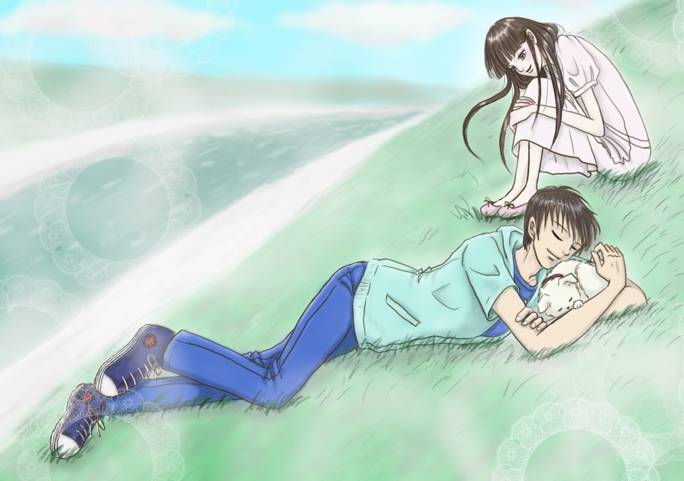 マルちゃんのお散歩に来て遊び疲れてお昼寝しちゃった風早君を偶然見つけて、 ちょっと離れたところから見つめる爽子ちゃん。